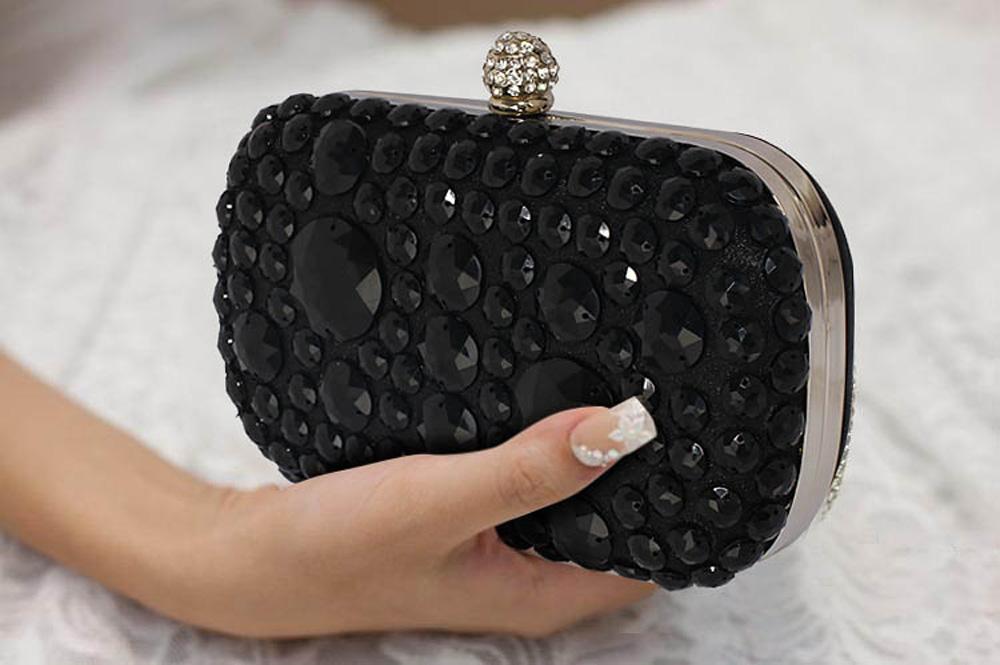 LSE00210 - Black Sparkly Crystal Satin Clutch purse 5dd280c750