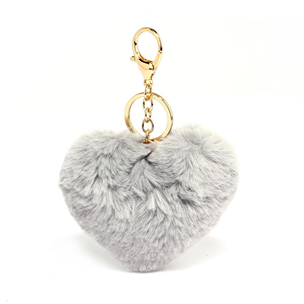 d29172e3b5 AGC1014 - Grey Fluffy Heart Bag Charms