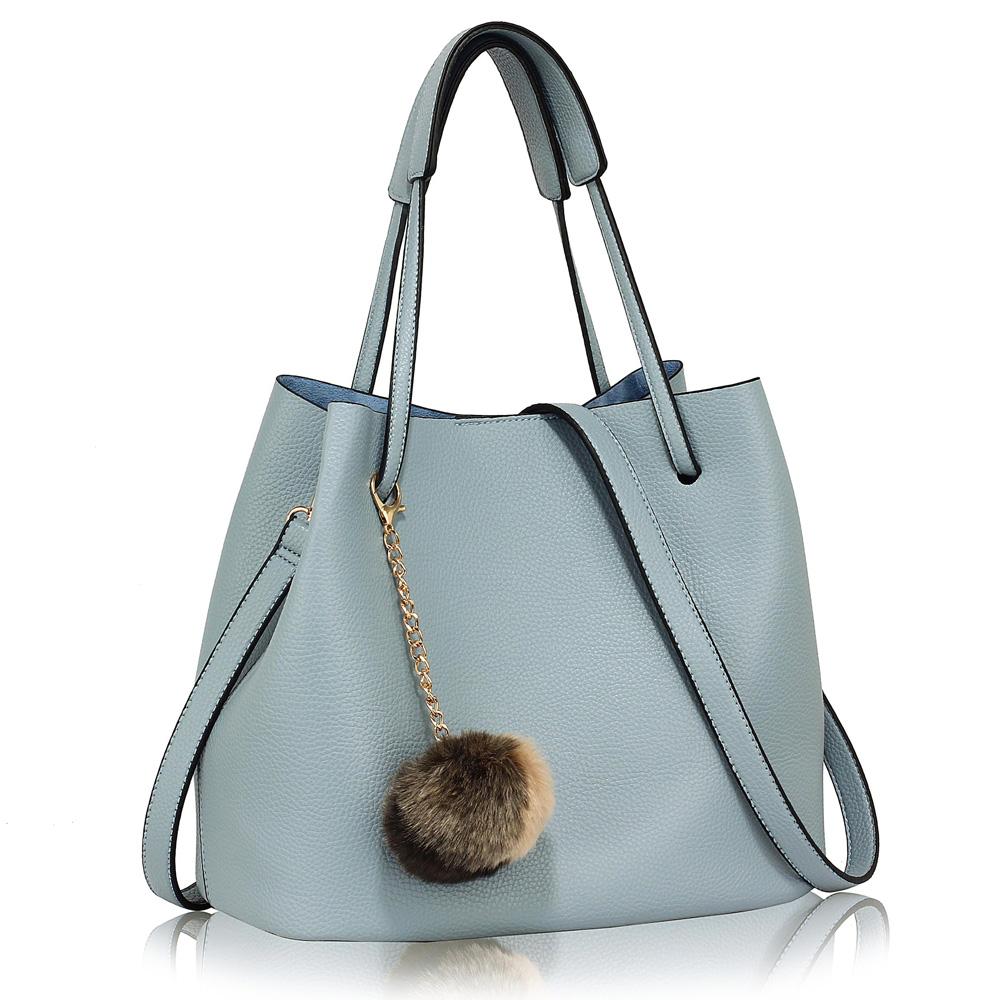 e5bf35130408 AG00190 - Blue Hobo Bag With Faux-Fur Charm. anna grace hobo bag