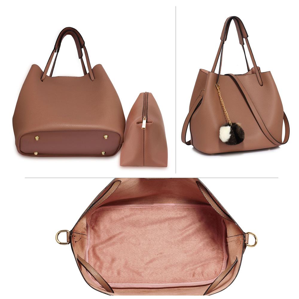 8b93b5b7c793 AG00190 - Nude Hobo Bag With Faux-Fur Charm