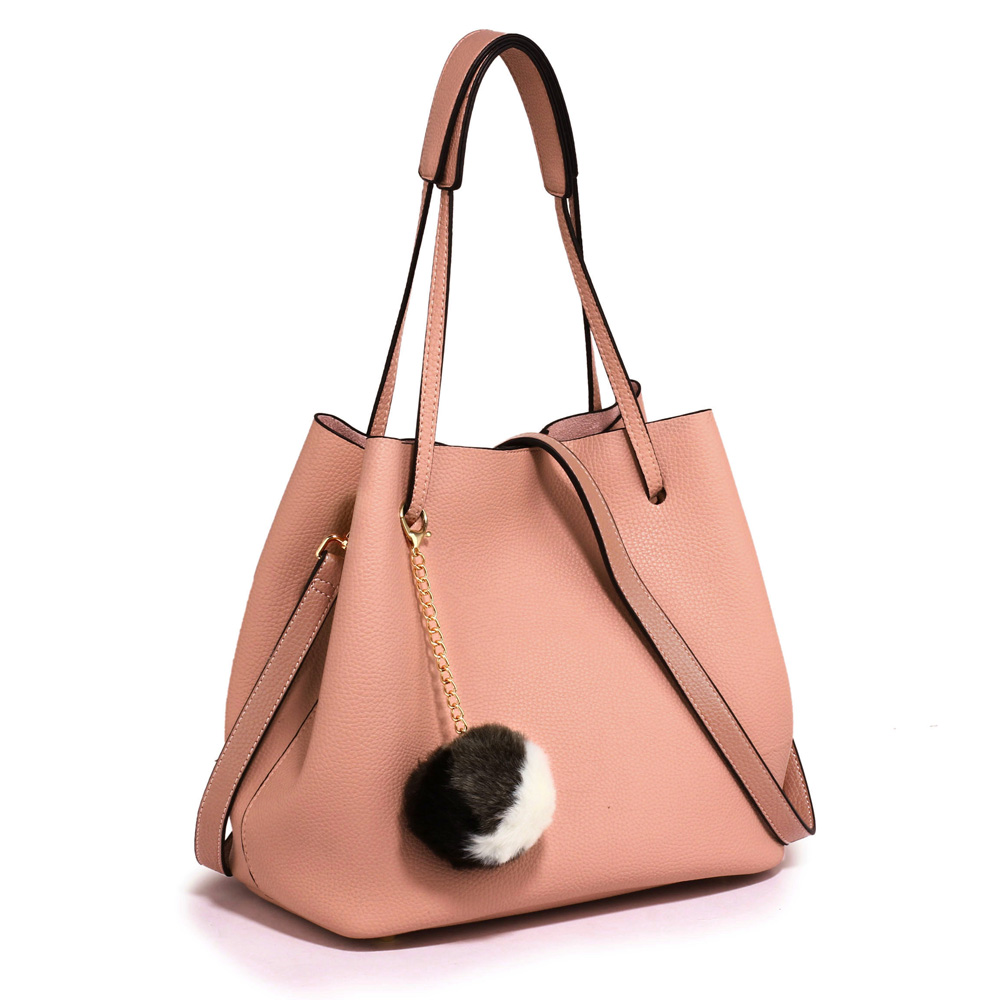 884826a33669 AG00190 - Pink Hobo Bag With Faux-Fur Charm