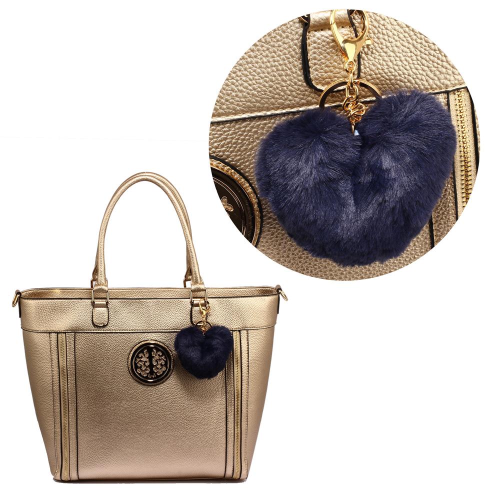 1d29f6fe3c AGC1014 - Navy Fluffy Heart Bag Charms