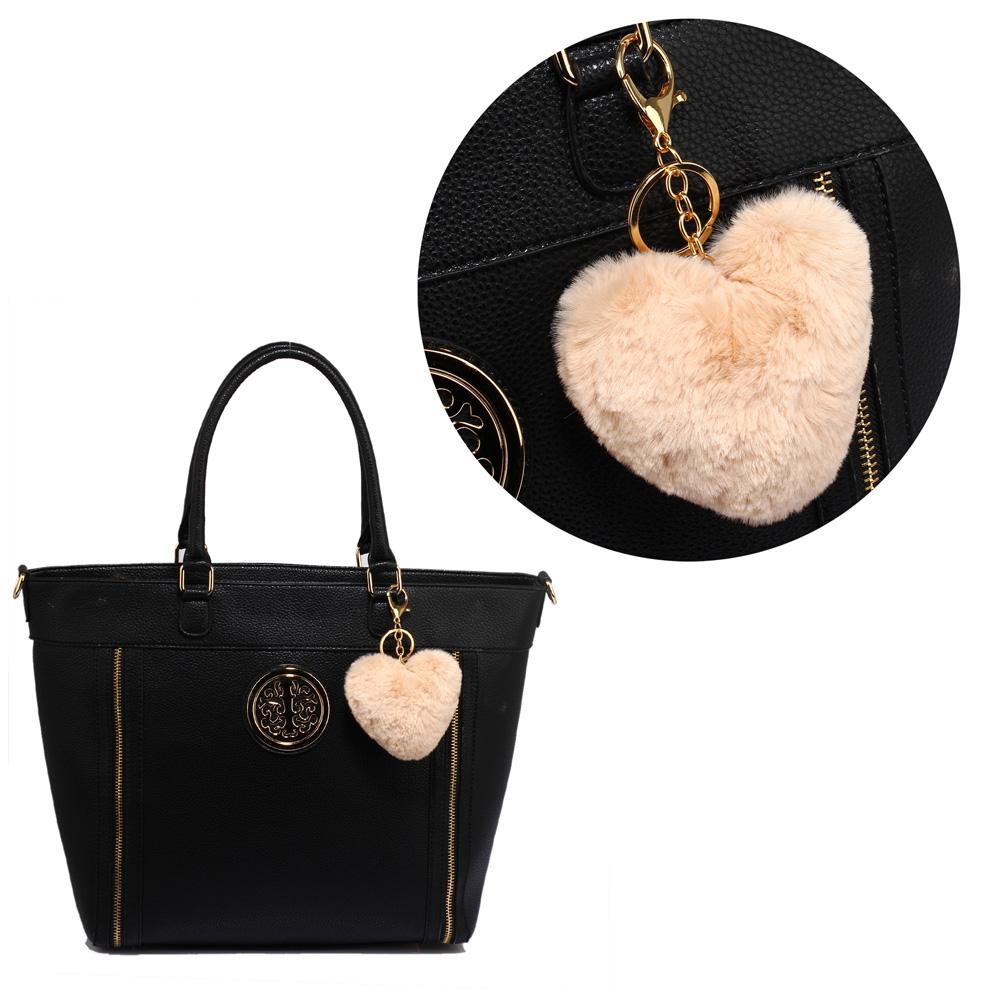 b627ba71cb AGC1014 - Nude Fluffy Heart Bag Charms