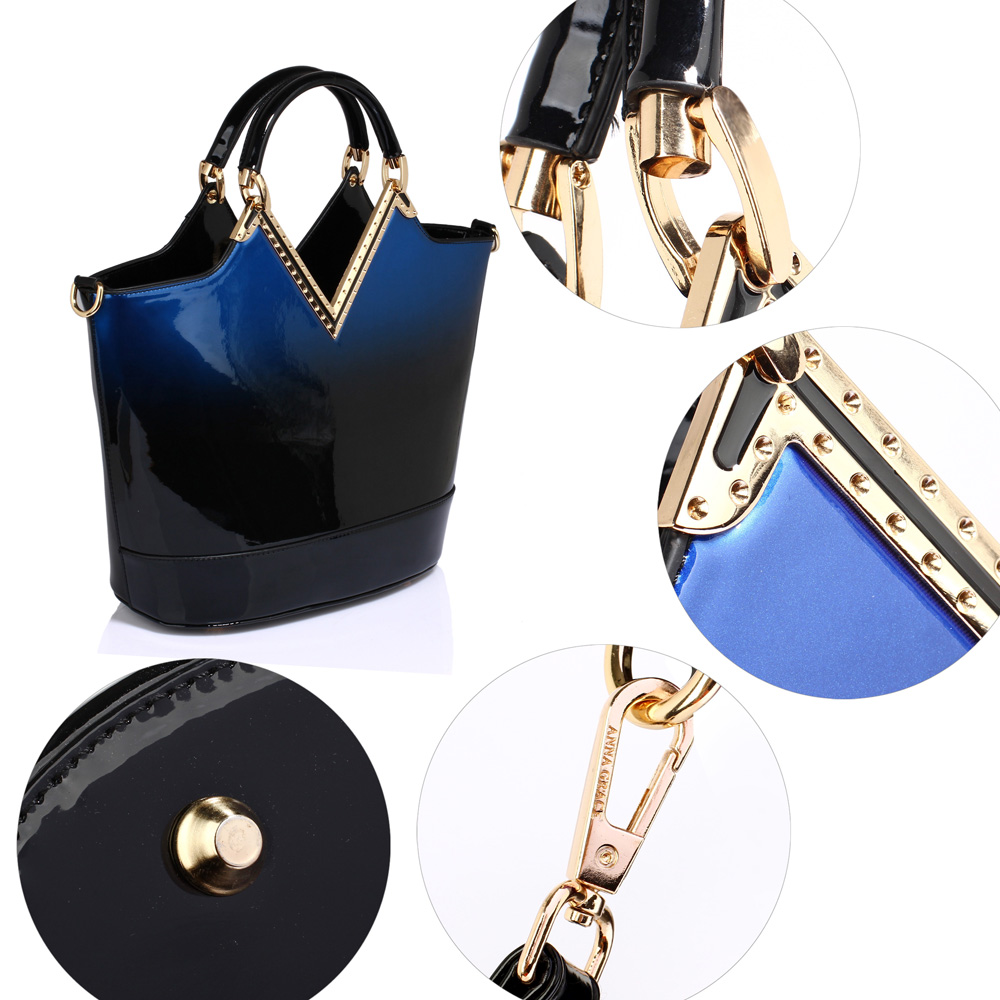 d7c91cf3ebdf2c Wholesale AG00379 - Navy Two Tone Patent Hobo Bag with Tassel Charm