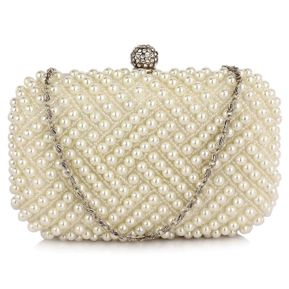 d167d6c3968c LSE00283 - Ivory Beaded Pearl Rhinestone Clutch Bag