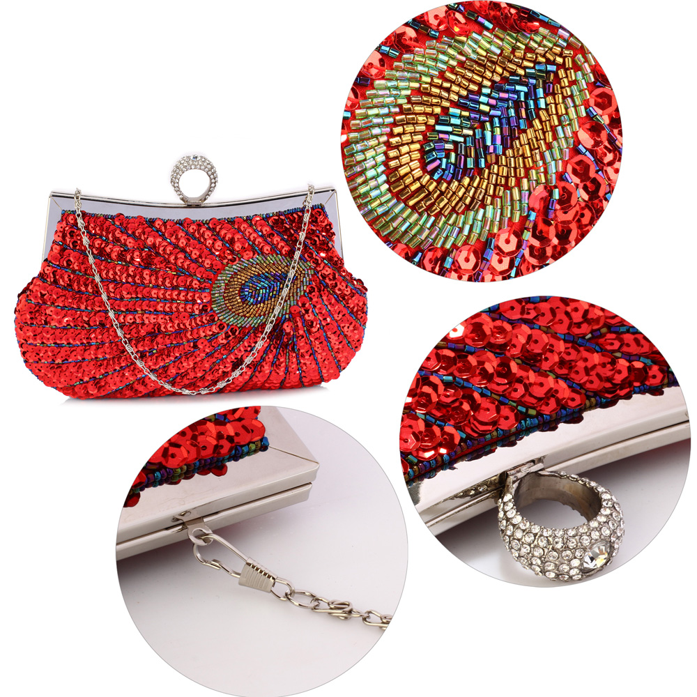 64e4da46dc LSE00297 - Red Sequin Peacock Feather Design Clutch Evening Party Bag