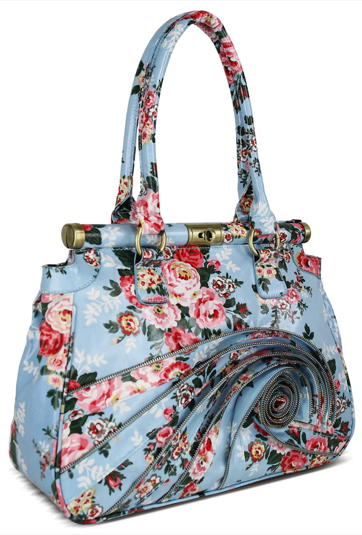 Wholesale Blue Floral Tote Shoulder Bag With Ruffled Zipper Accents