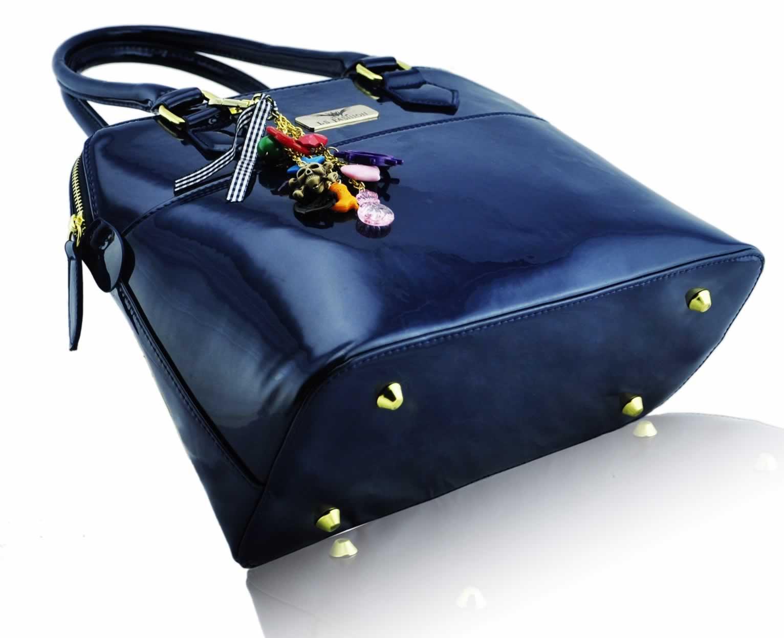 Wholesale navy Patent Tote Fashion Handbag