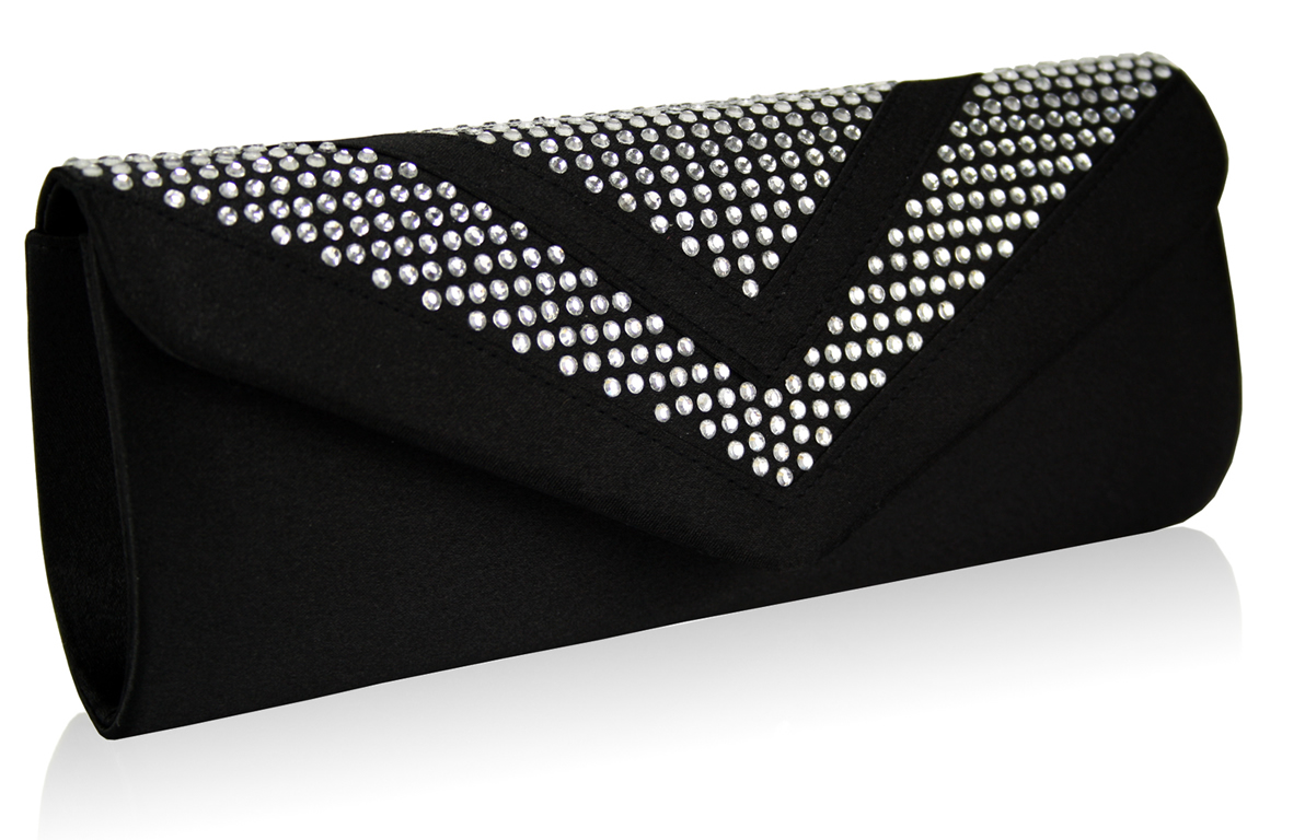 Wholesale Black Diamante Evening Clutch Bag