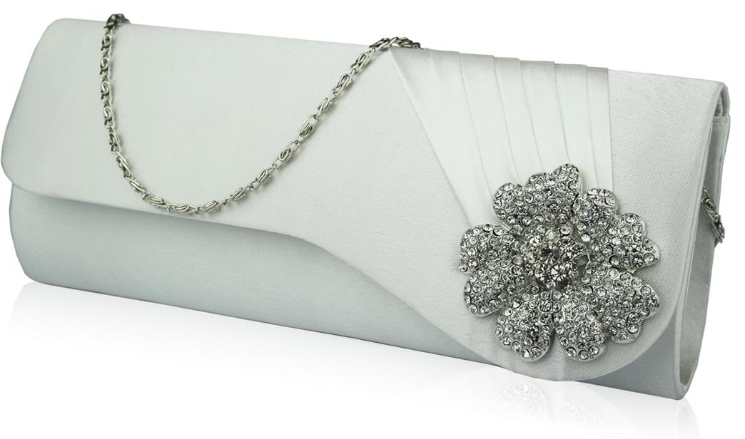 Wholesale Ivory Crystal Flower Evening Clutch Bag