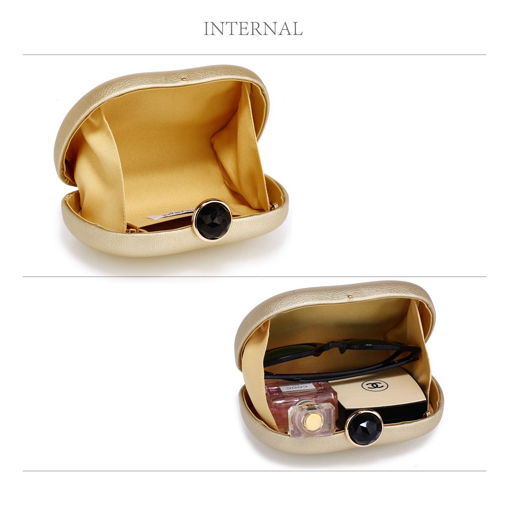 0614cc82ed AGC00352 - Gold Hard Case Rhinestone Evening Clutch Bag