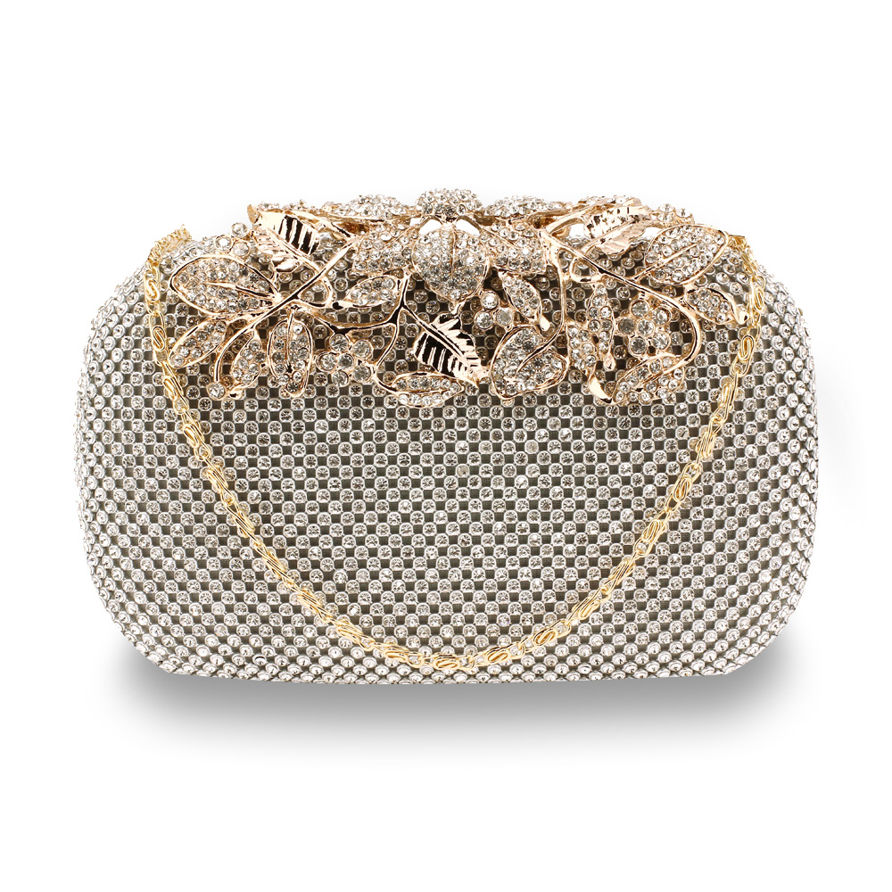 9aa035b14b5b Wholesale Silver Rhinestone Flower Evening Wedding Clutch Bag AGC00366