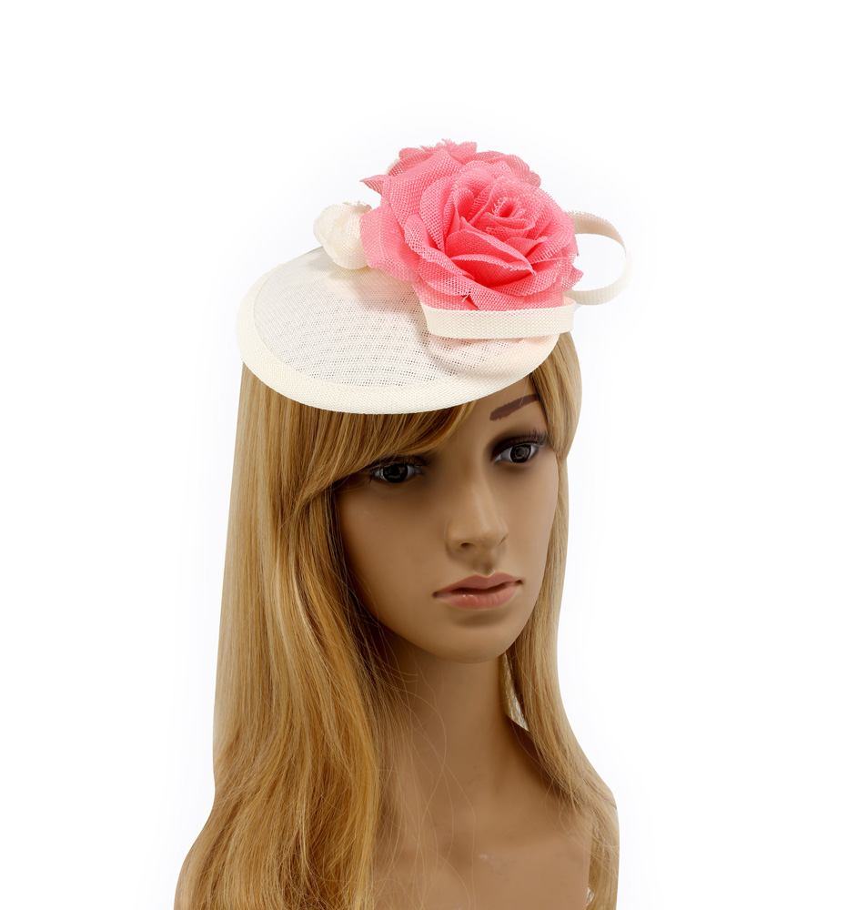 Wholesale Ivory Pink Flower Mesh Feather Fascinator Agf00240