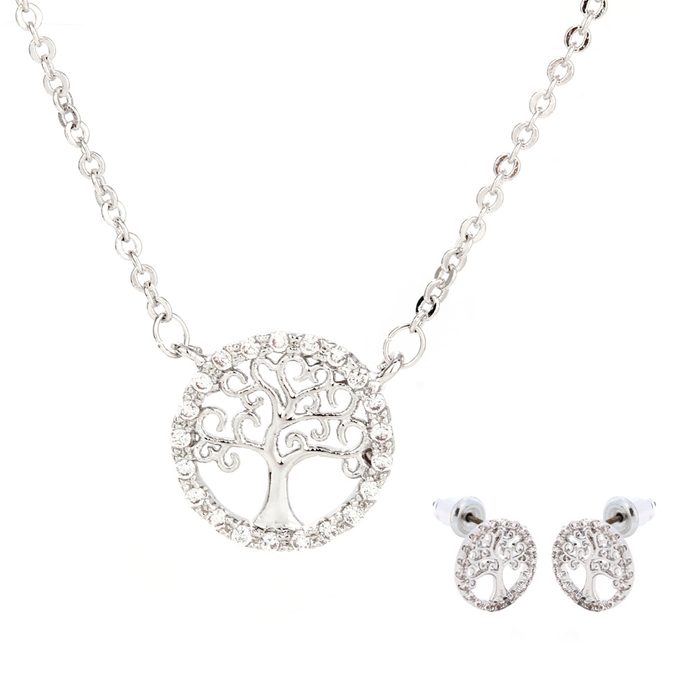 de7763c56 Wholesale Silver Plated Tree Of Life Necklace & Earrings Jewelry Set
