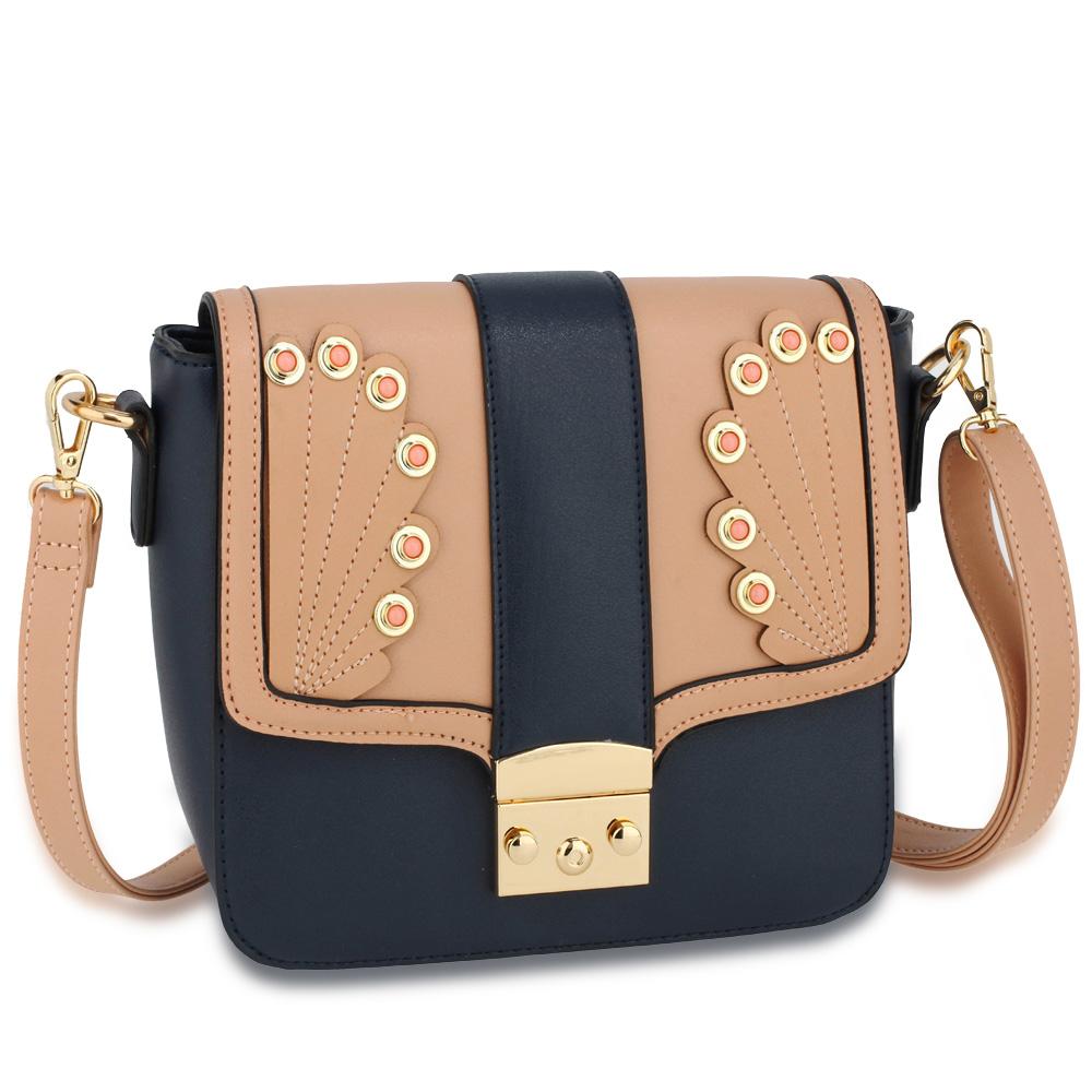 0bb01c9ffc2b Wholesale Navy / Pink Canvas Cross Body Bag School Messenger Shoulder Bag  AG00628