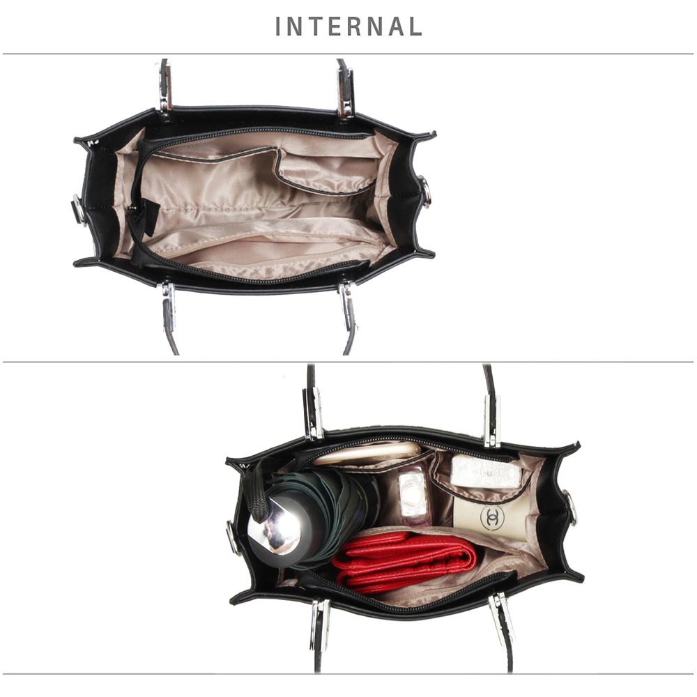 Check Print Black//Cream//Burgundy Anna Grace Tote Bag Detachable Strap AG00634