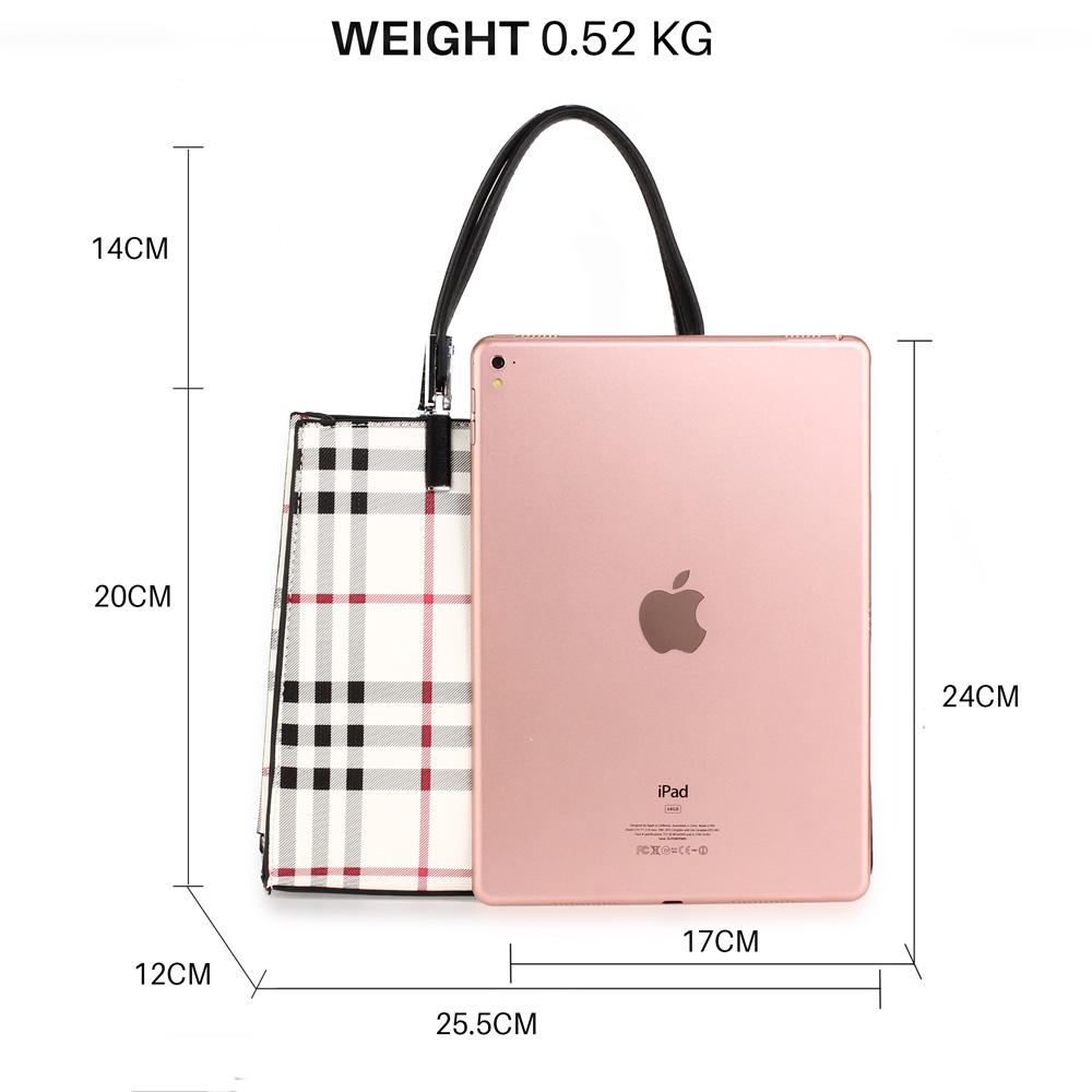 AG00634 Check Print Black//Cream//Burgundy Anna Grace Tote Bag Detachable Strap