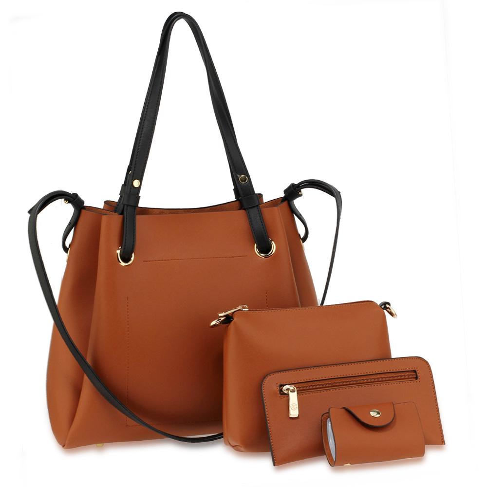 1ba29a6632 ... 4 Pieces Set Tote Bag   Messenger Satchel   Wristlet   Wallet.  Wholesale anna grace handbags