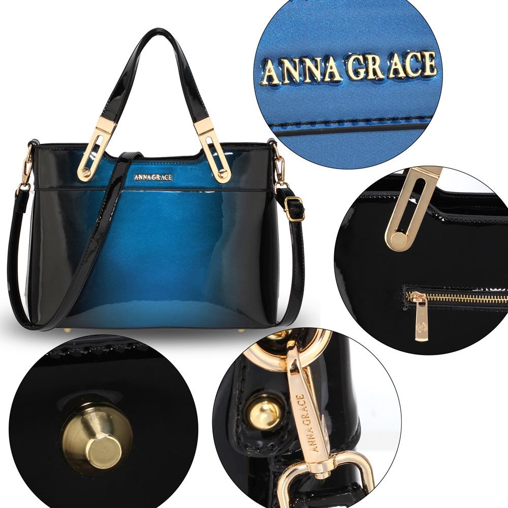 54a52d942f0a14 AG00678 - Navy Two Tone Patent Shoulder Bag