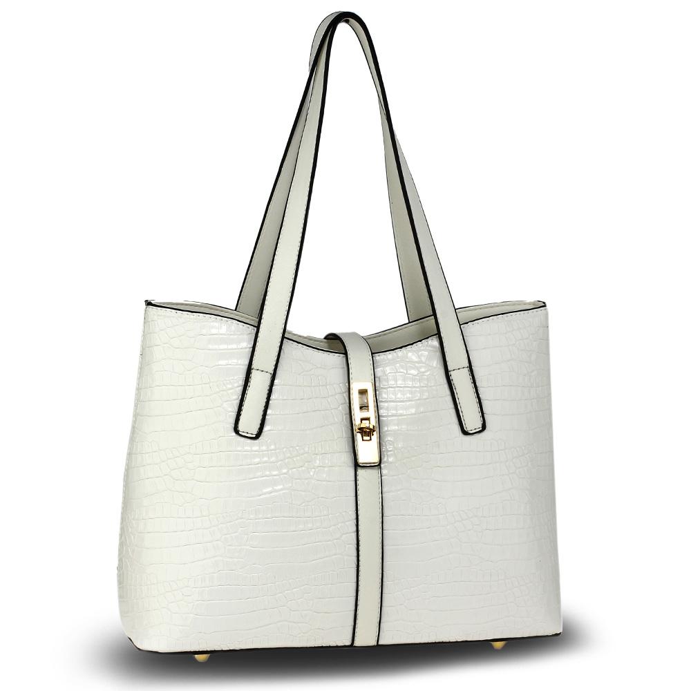 AG00710 White Croc Print Tote Bag