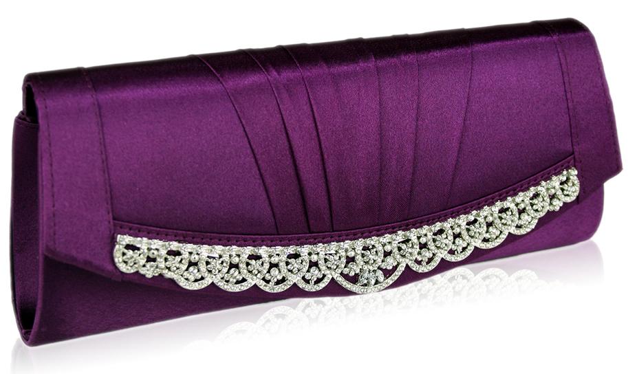 Wholesale Purple Sparkly Crystal Satin Clutch purse