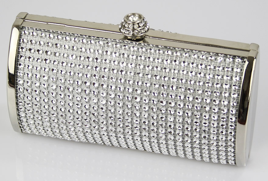 Wholesale Silver Sparkly Crystal Evening Clutch