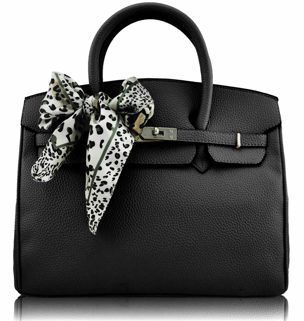 wholesale black fashion scarf tote handbag