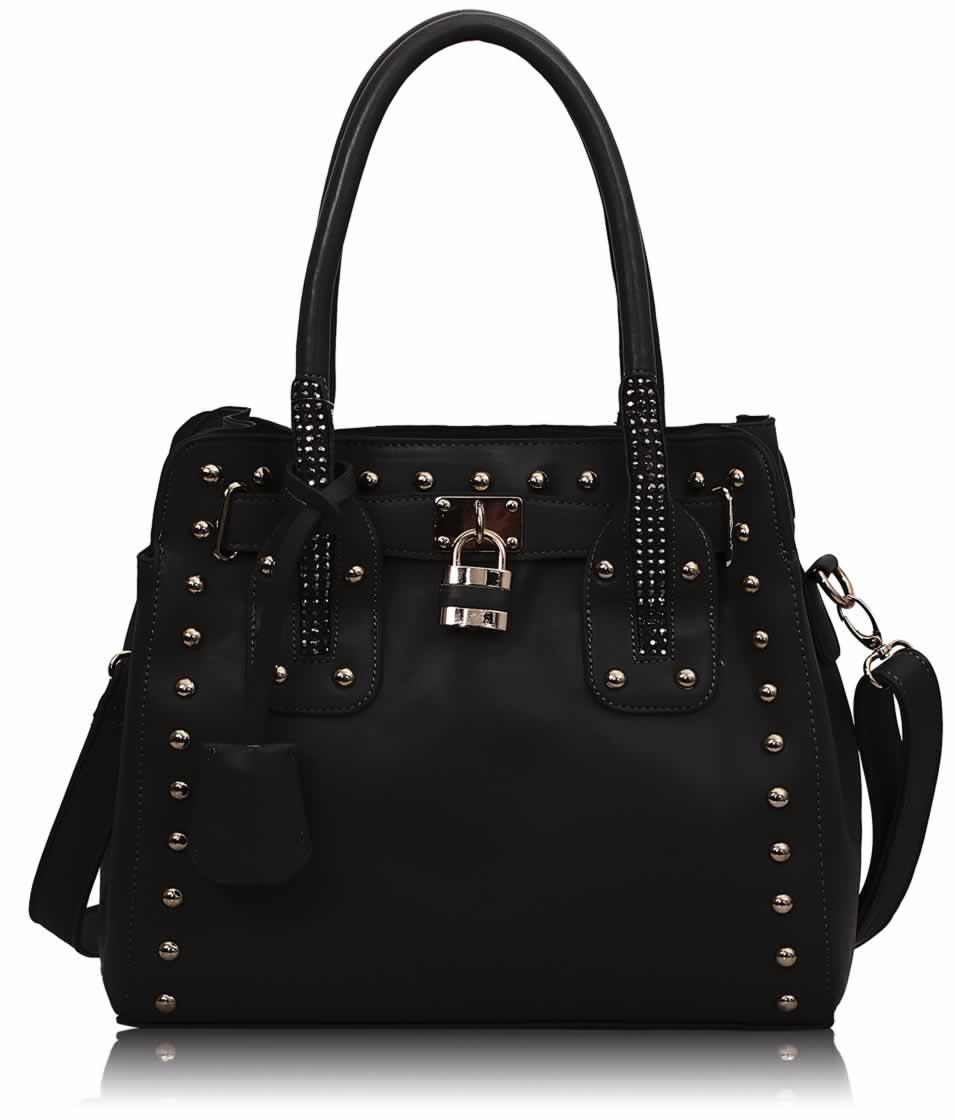 393b23cc9 Wholesale Black Studded Tote Bag With Padlock