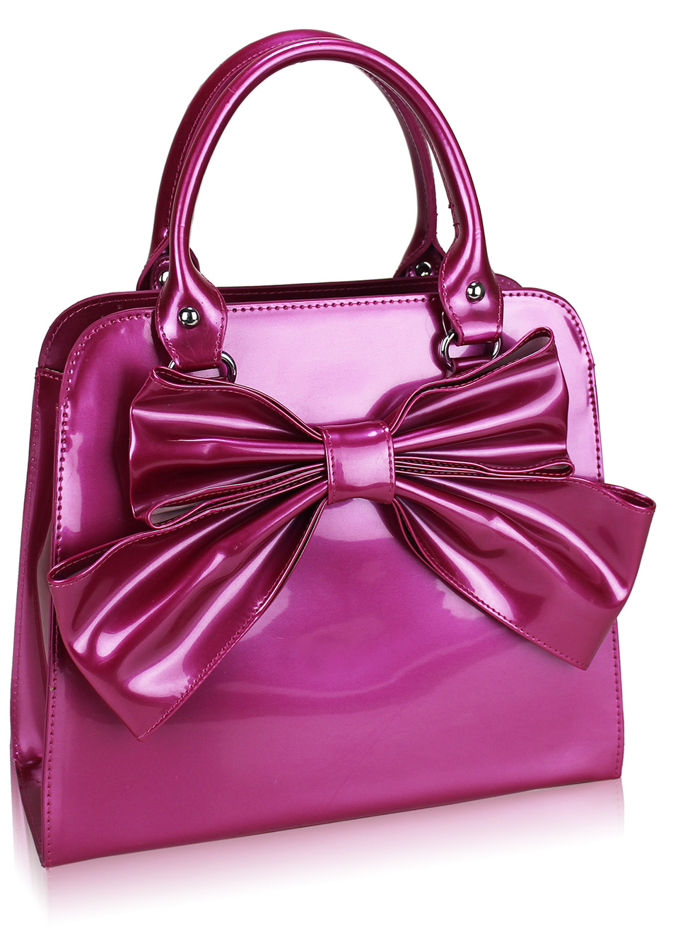 Wholesale Pink Patent Bow Tote Bag