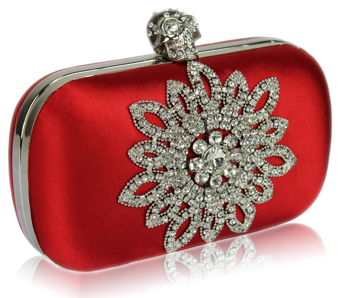 21a9c60595 Wholesale Red Sparkly Crystal Satin Clutch purse