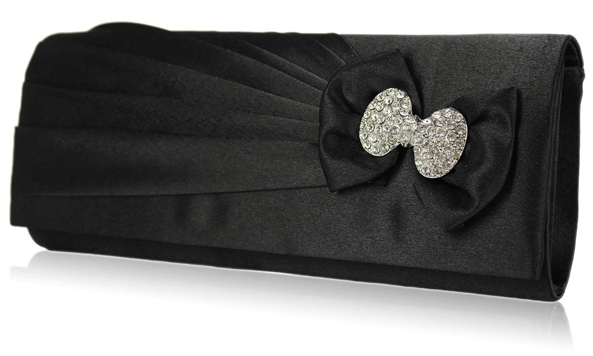 Wholesale Black Sparkly Crystal Satin Clutch Purse