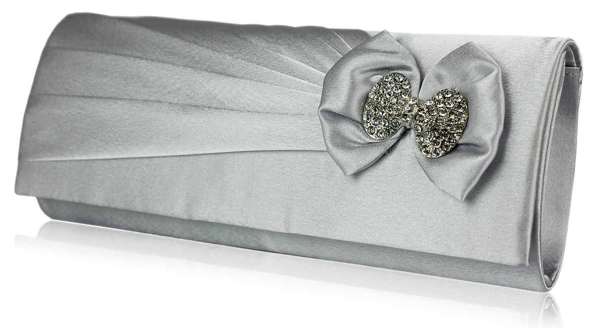 Wholesale Silver Sparkly Crystal Satin Clutch purse