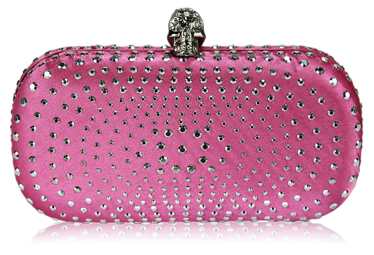 Wholesale Pink Satin Clutch Bag With Crystal-Encrusted Skull Clasp