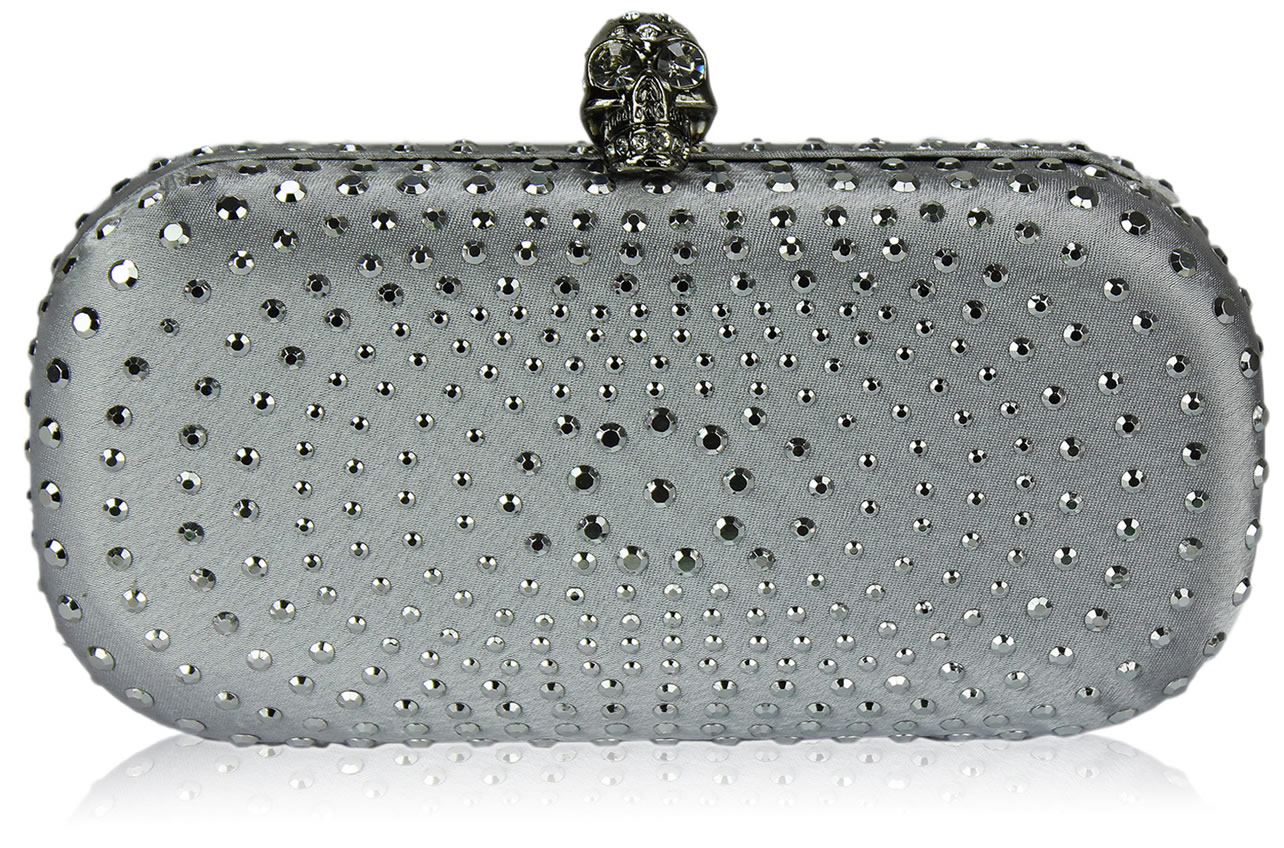 Wholesale Silver Satin Clutch Bag With Crystal-Encrusted Skull Clasp