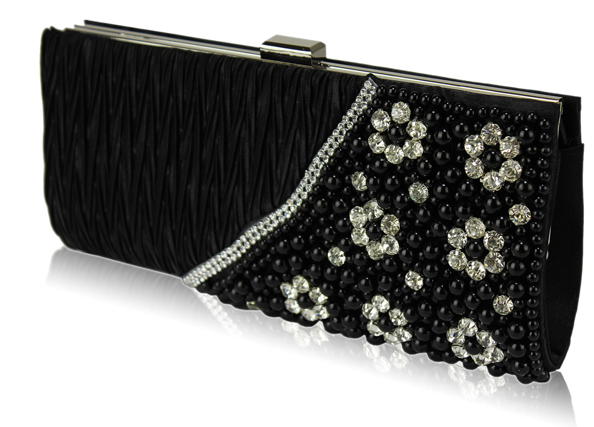 Wholesale Black Satin Beaded Clutch Bag With Crystal Decoration