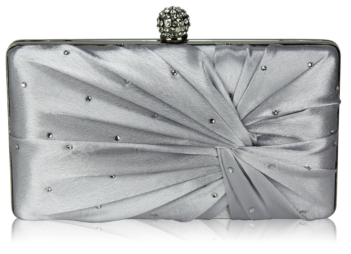 Wholesale Silver Satin Crystal Clasp Evening Evening Clutch Bag