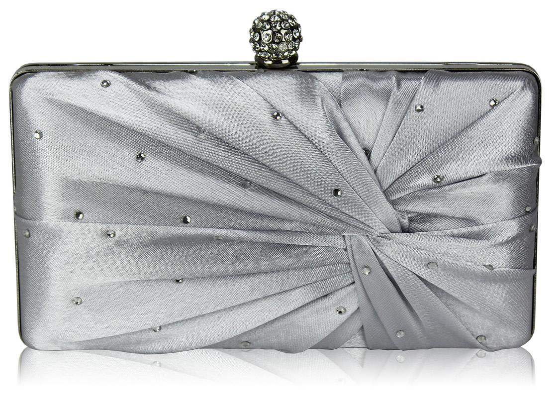 51c06028dd Wholesale Silver Satin Crystal Clasp Evening Evening Clutch Bag