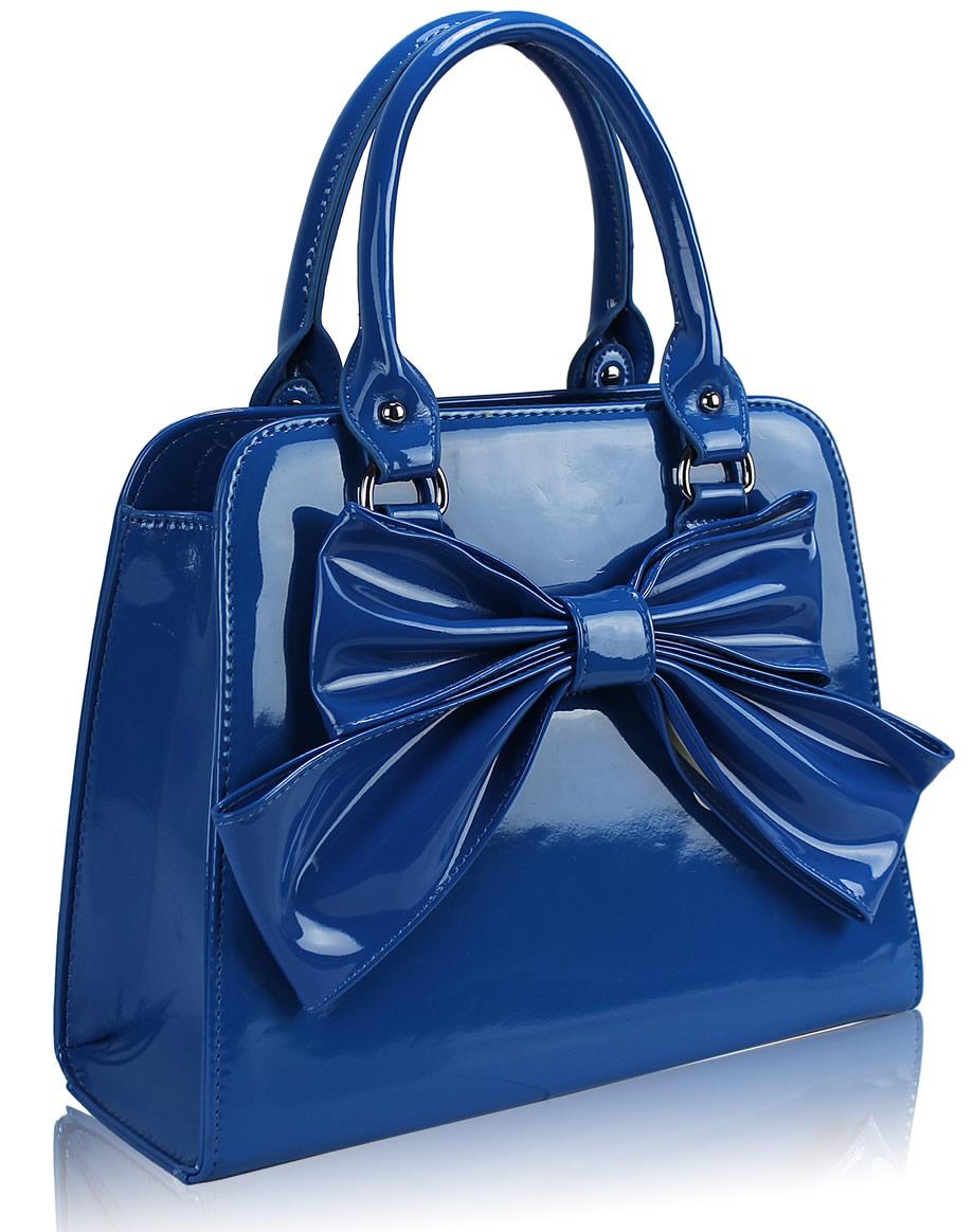 Home HANDBAGS LS005- Blue Patent Bow Tote Bag