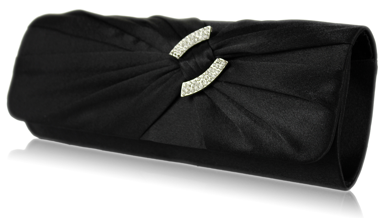 Wholesale Black Satin Clutch Bag With Crystal Decoration