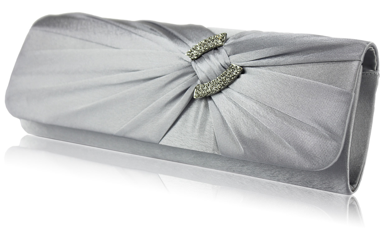 Wholesale Purple Satin Clutch Bag With Crystal Decoration