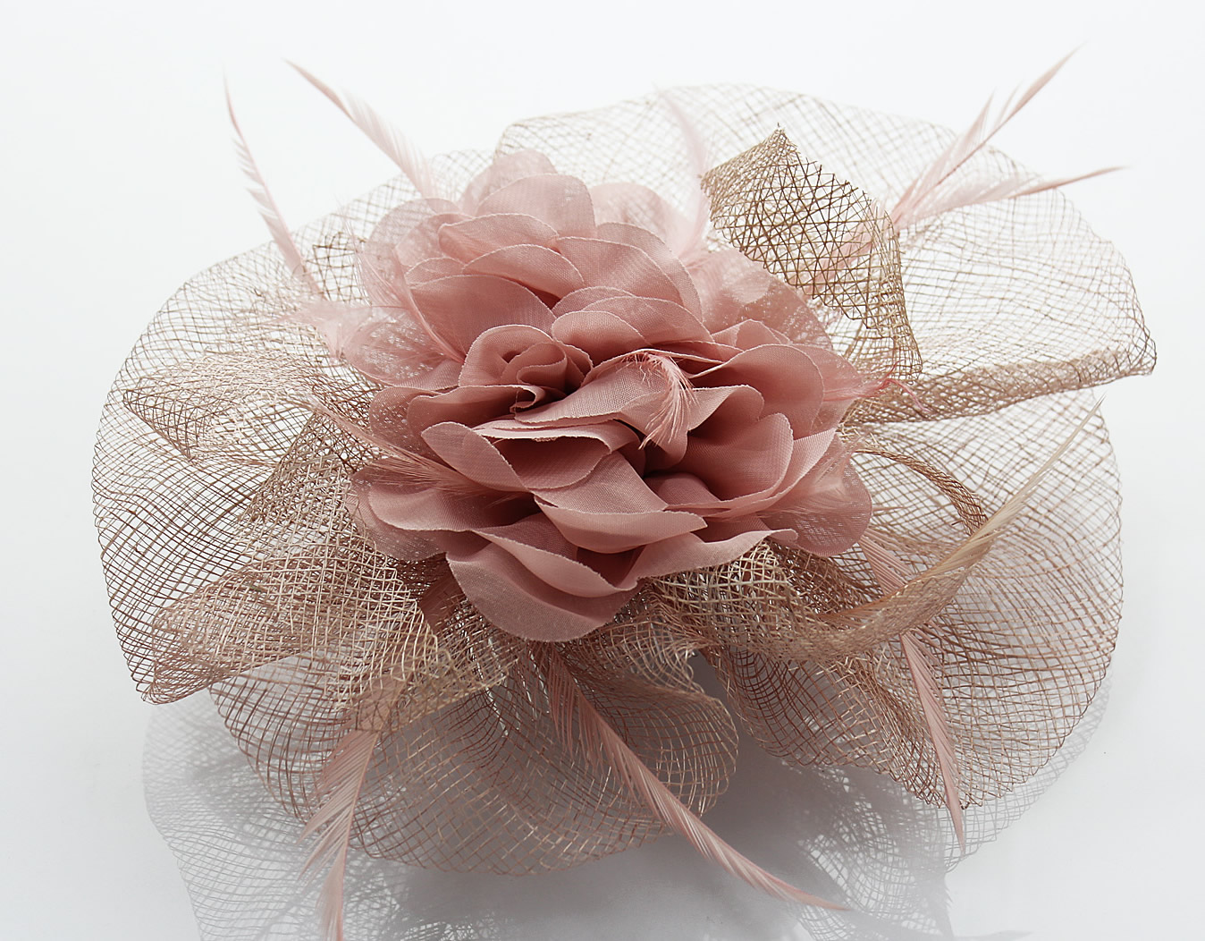 Wholesale Pink Feather Flower Fascinator On Comb Hairbands Hair
