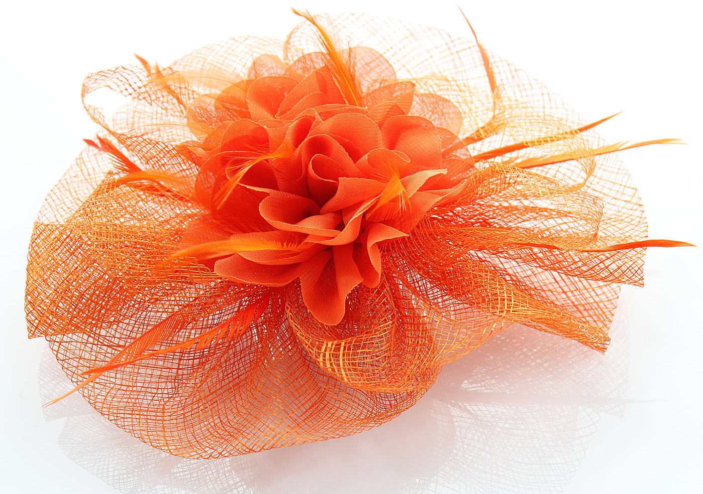 Wholesale Orange Feather   Flower Fascinator on Comb- Hairbands-Hair  accessories d3361097d7f