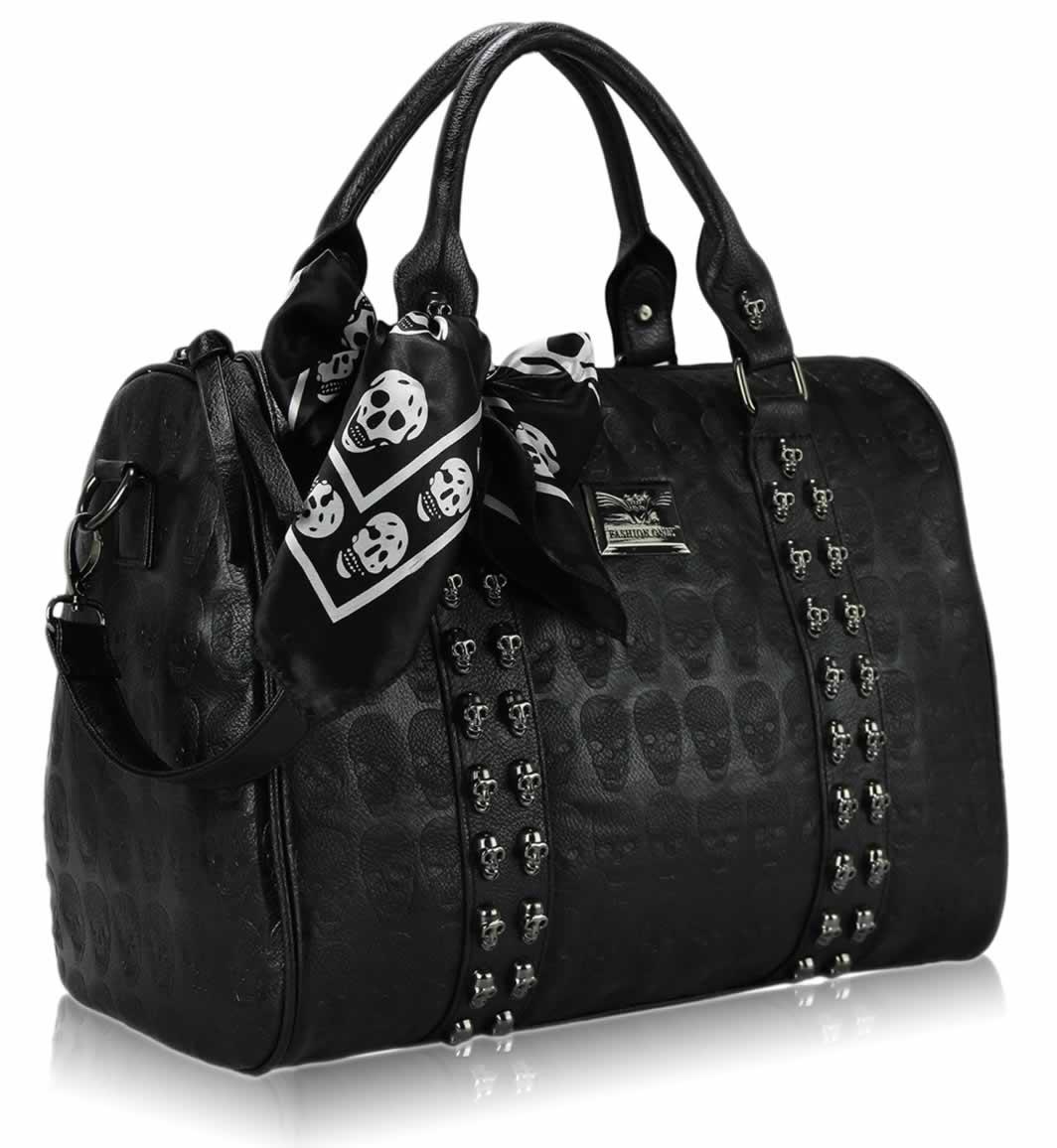 Sale Ls0050 Black Stunning Skull Studded Barrel Bag With Long Strap Ladies Handbags