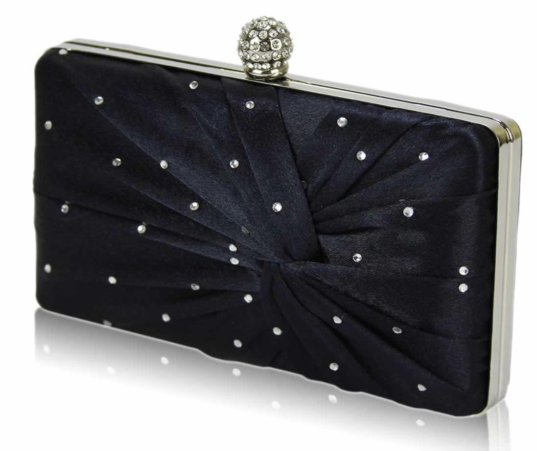 Wholesale Navy Satin Crystal Clasp Evening Evening Clutch Bag