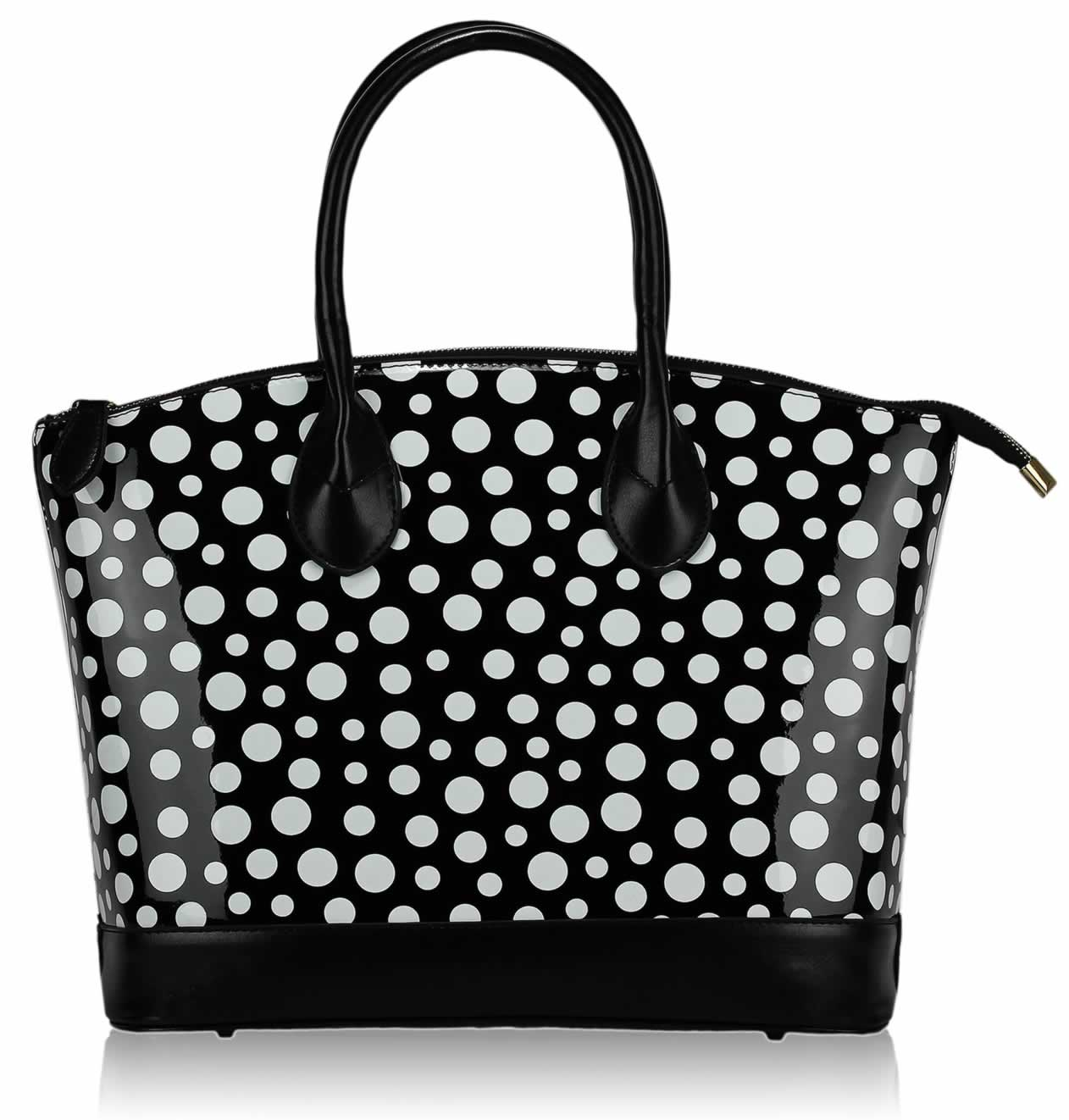 black and white polka dot handbag