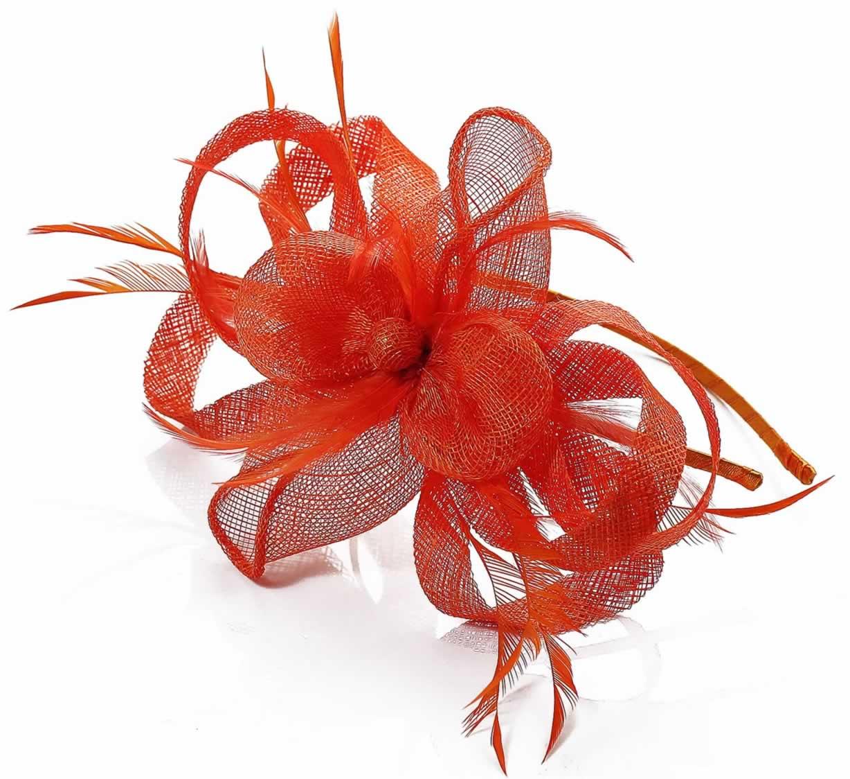 Wholesale Orange Loop   Feather Fascinator on Headband- Hairbands ... d483d7b003d