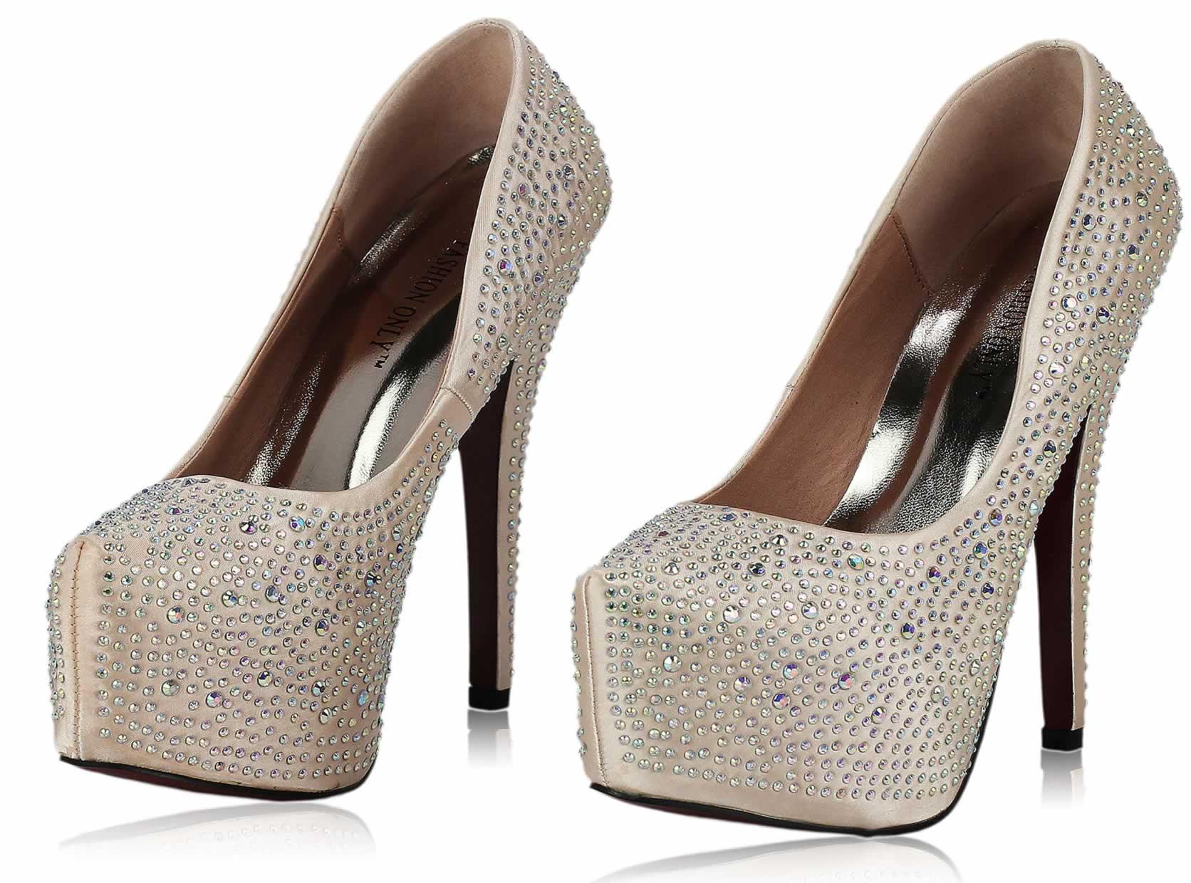 36b26af250f2 Wholesale Shoes    LSS00107 - Champagne Diamante Embellished ...