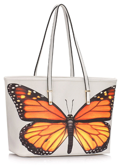 LS00462A  - White Colorful Dragonflies Print Tote Shoulder Bag