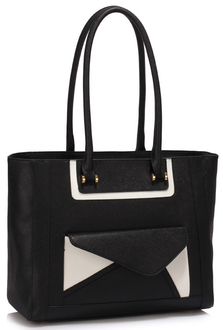 LS00487 - Wholesale & B2B Black Front-pocket Tote Shoulder Bag Supplier & Manufacturer