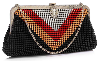 LSE00320 - Multi A Beaded Crystal Clutch Bag